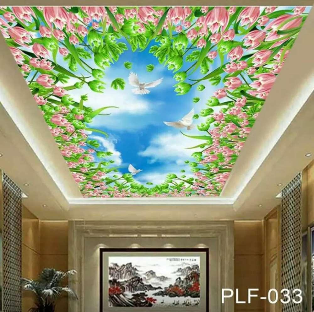 Wallpaper 3D Plafon Rumah Bunga