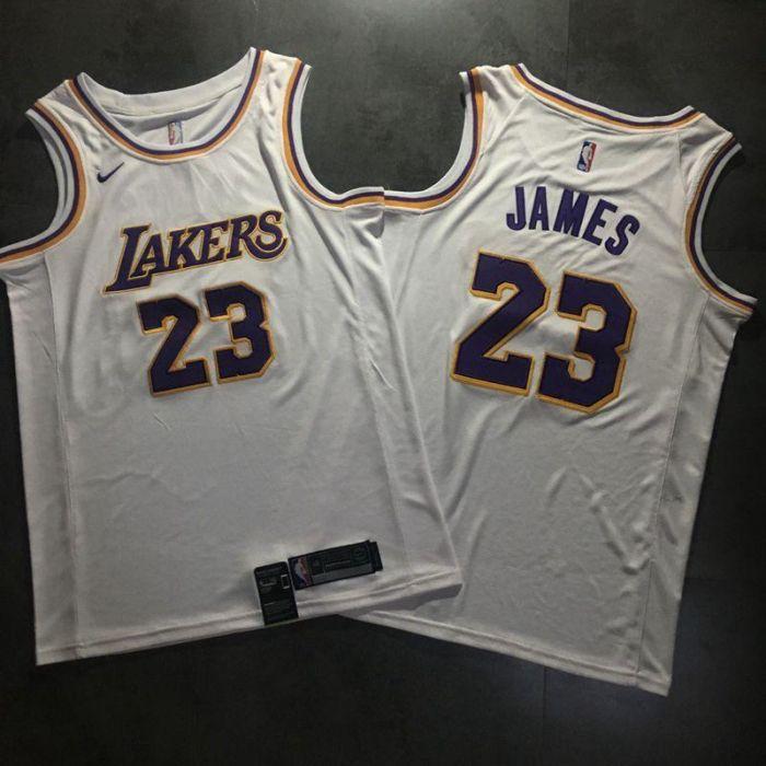 low priced 4d97c 2d9e7 White purple LA Lakers LeBron James Nike swingman NBA jersey ...
