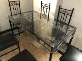 Rot Iron Six Seater And Table With Glass Top