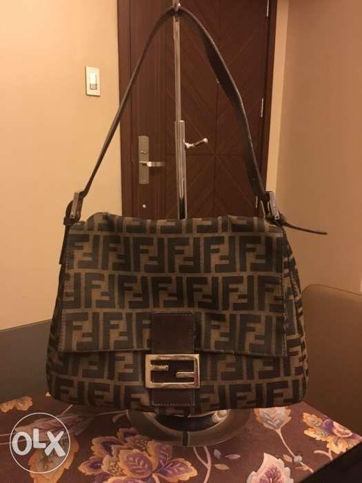 88b4ab4398d6 Authentic Fendi Zucca Mama Forever Baguette Shoulder Bag in ...