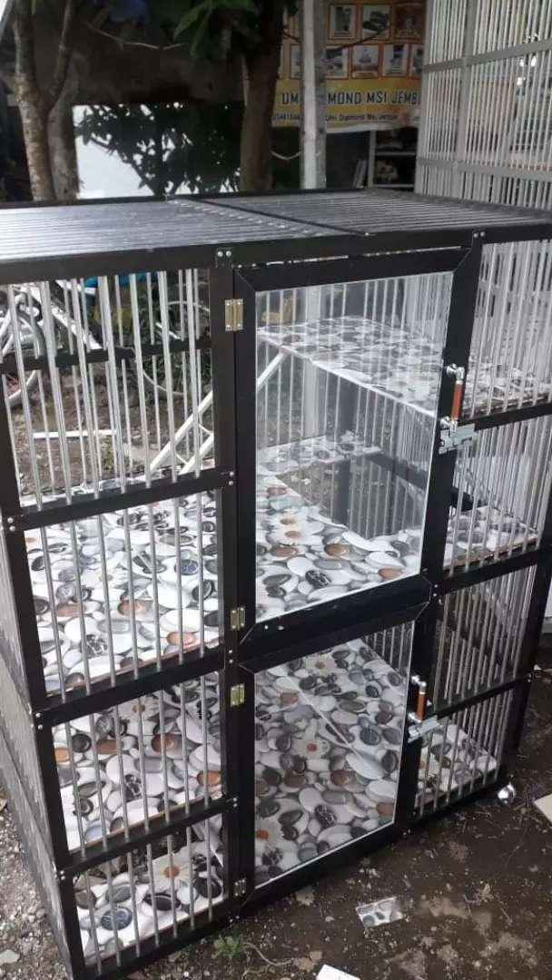 Kandang Kucing Bahan Aluminium 2 Pintu Atas Bawah Hewan Peliharaan 787185365