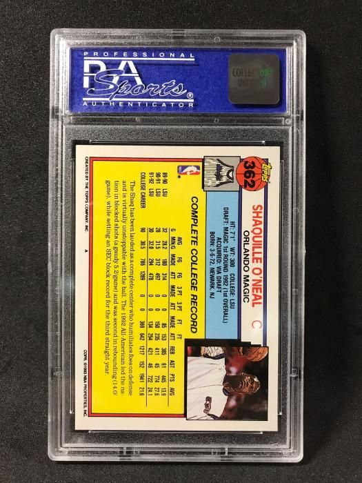 Shaquille Oneal 1992 Topps Nba Basketball Rookie Card Psa 8