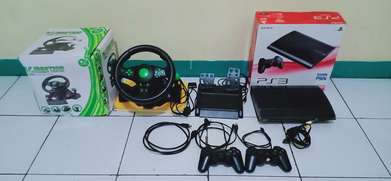 Jual PS3 super slim + setir game balap