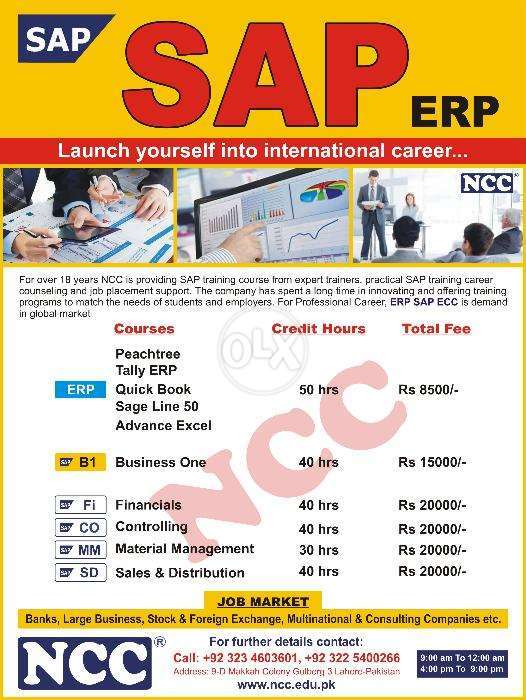 Erp Sap Fico, Sd, Mm, Hr, Crm, Pp, Basis, Abap Training By Ncc College