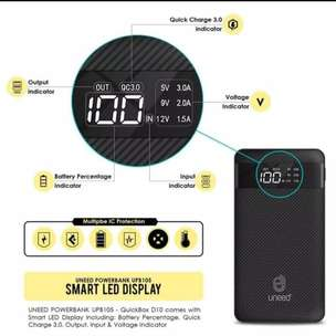 Termurahh...Power Bank Uneed Quick box  D10 -10000 mAH 3 Amp LED