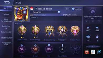 For sale akun mobile legend tier mythic skin legend 4 epic limit