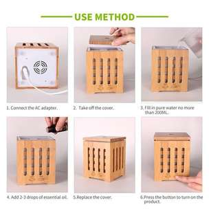 H27 - Wooden Humidifier Aroma Diffuser 7 Color LED Light 350ml