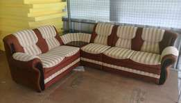 Brown And White Fabric Sectional Sofa (free home delivery )