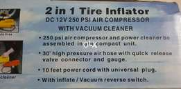 2 in 1 Tire Inflator 250 PSI With Vacuum Cleaner
