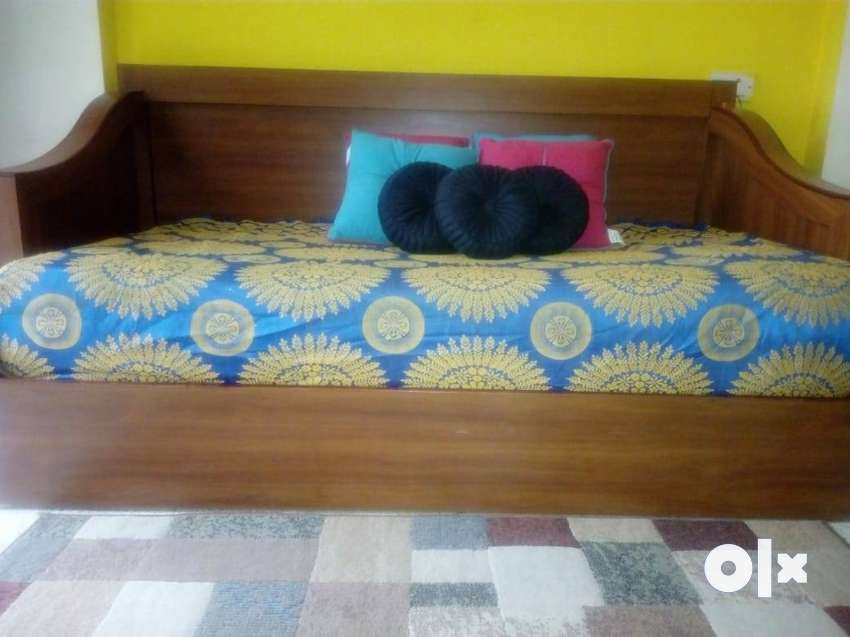 Wooden Assam Teak And Plywood Sofa Cum Bed With Mattress