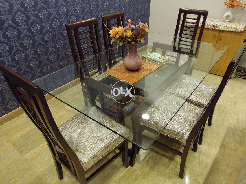 6 Chairs Dining Table Dinning Pure Wood