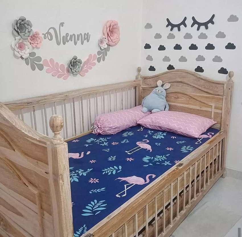 Preloved Bed Bayi Kayu Ukuran 200 X 100 Matras Lapis Cover
