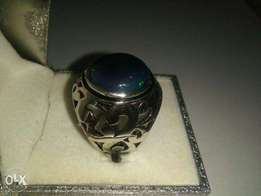 6 Carat Black Opal (Cold Dyed) in Gents Silver Fashion Ring For 7,500