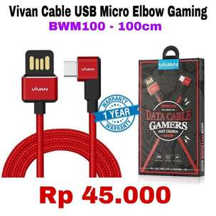 USB Elbow Charger VIVAN ORIGINAL - Garansi 1 Tahun - Kabel Charging