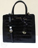 a215f9b7f AUTHENTIC Michael Kors Dillon Croc Embossed Leather Tote Bag BlackGold