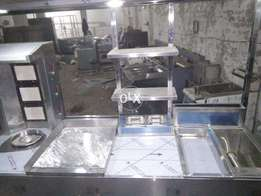 complete shawarma and fastfood counter , restaurant , non magnet steel