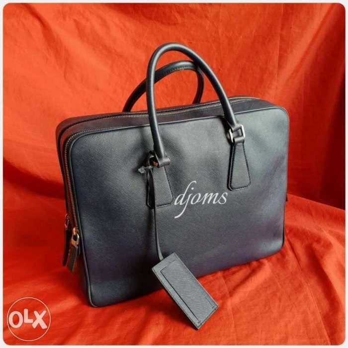 2d5d2f9b984346 Prada 2 Compartments Saffiano Brief Document Laptop Travel Bag in ...