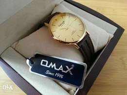 Omax Gold watch Brown Belt imported New