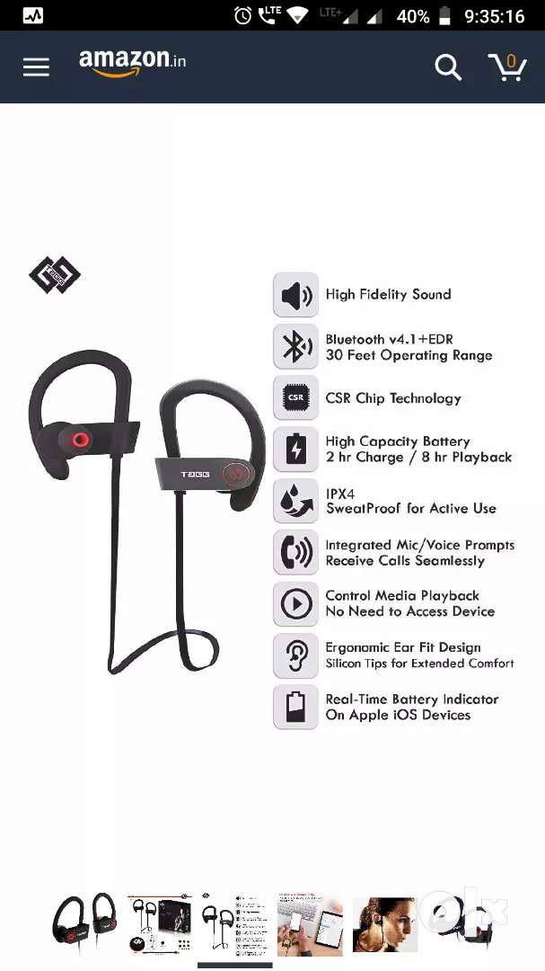 a5d95758c12 Tagg Inferno, Wireless Bluetooth Earphone With Mic + Carry Case(Black)