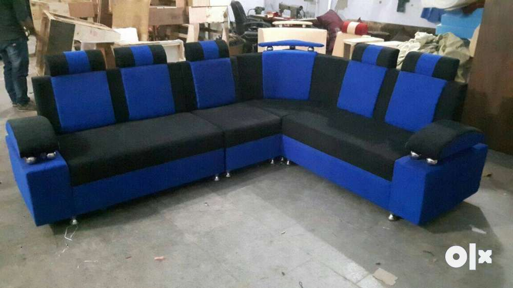 Blue And Black Sectional Couch