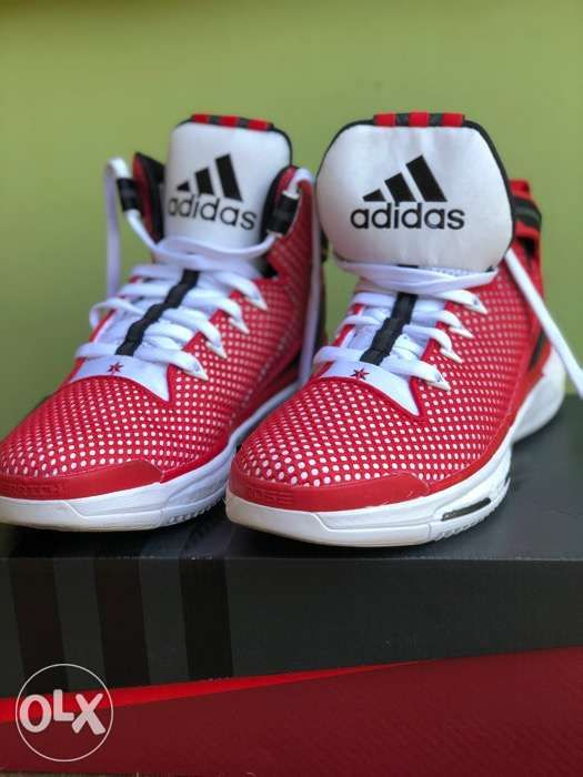 a9ac97ec9d23 Adidas D Rose 6 Boost Red White Black Basketball Shoes Sz 10 with Box ...