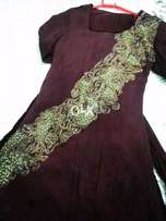 Beautiful mehroon maxi with palachi panels