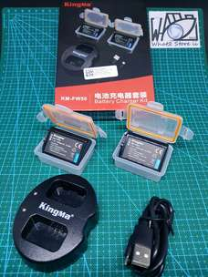 kingma charger + 2 batery (NP-FW50) for sony a5100 a6000 a7 a7r nex