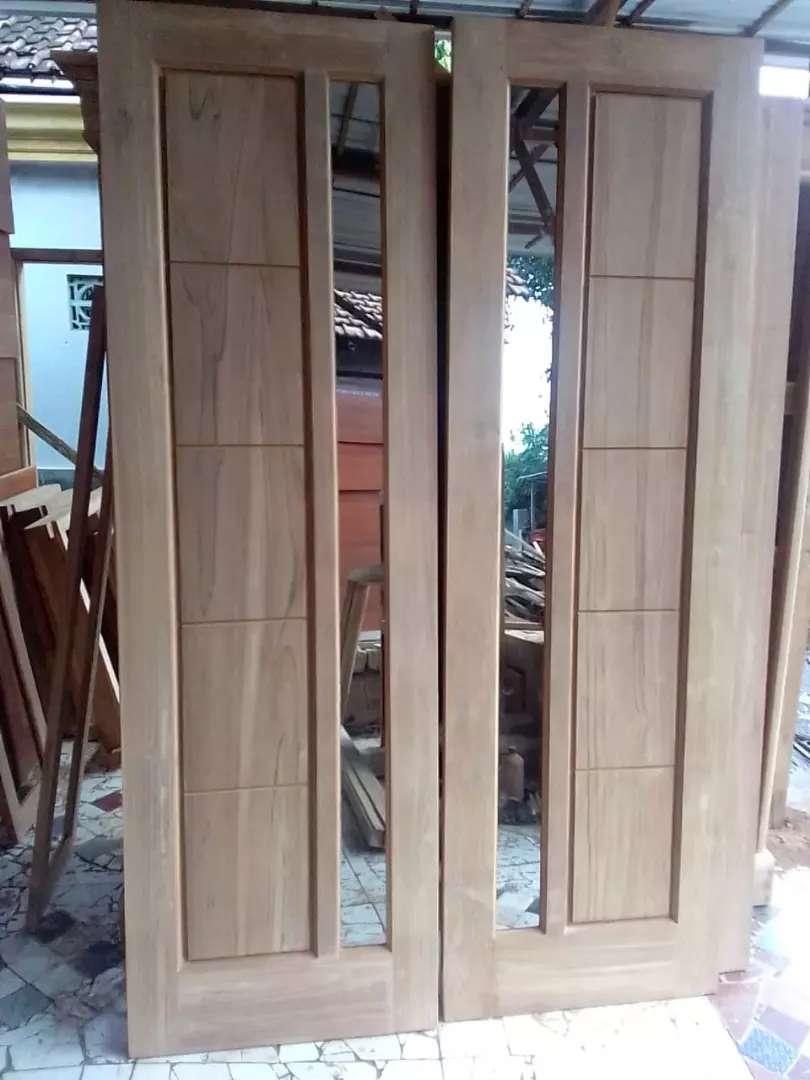 Daun Pintu Kuputarung Minimalis Kaca One Way Bahan Kayu Jati Kering Mebel 771110860