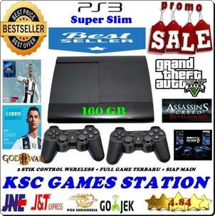 New Ps3 Super Slim 160 GB Segel Void Siap Main + 2 Stik Wirelle