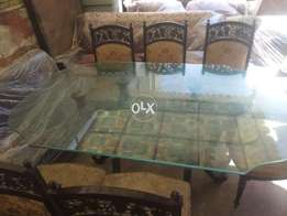6 chair solid wood dining table good quality low price