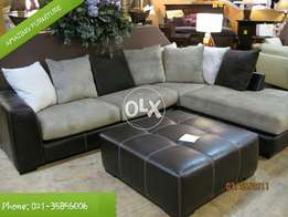 New Six seater L shape sofa with centre puffy