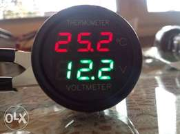 Car Battery Monitor Voltmeter Thermometer Red-Green Digital Display