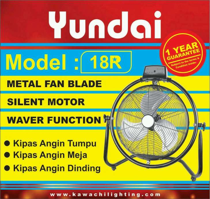 "New Kipas Angin Besi Stainless Steel YUNDAI WIND 18""Inchi +Remote"