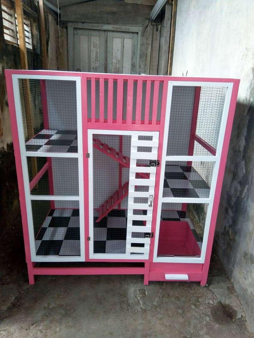 Lantai Kandang Kucing Kayu Pink
