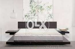 Brand new low height bed with slim type side tables