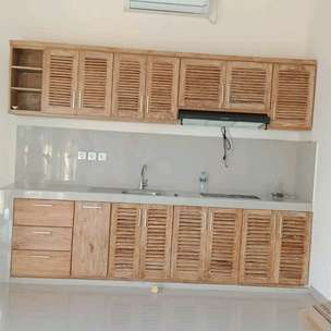 Kitchen set minimalis white wash rastik putih jati