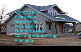 Wood works and polish, Tile fixing and House paint