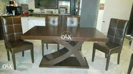 New wooden X style table | six chairs full cushion.