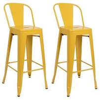 Two Yellow Bar Stools With Backrest