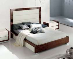 White and Brown Finishing Low Height Bed with Sides