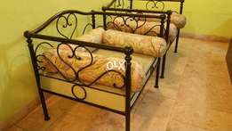 Wrought Iron Sofa Chairs With 6 Pillow Cushions.