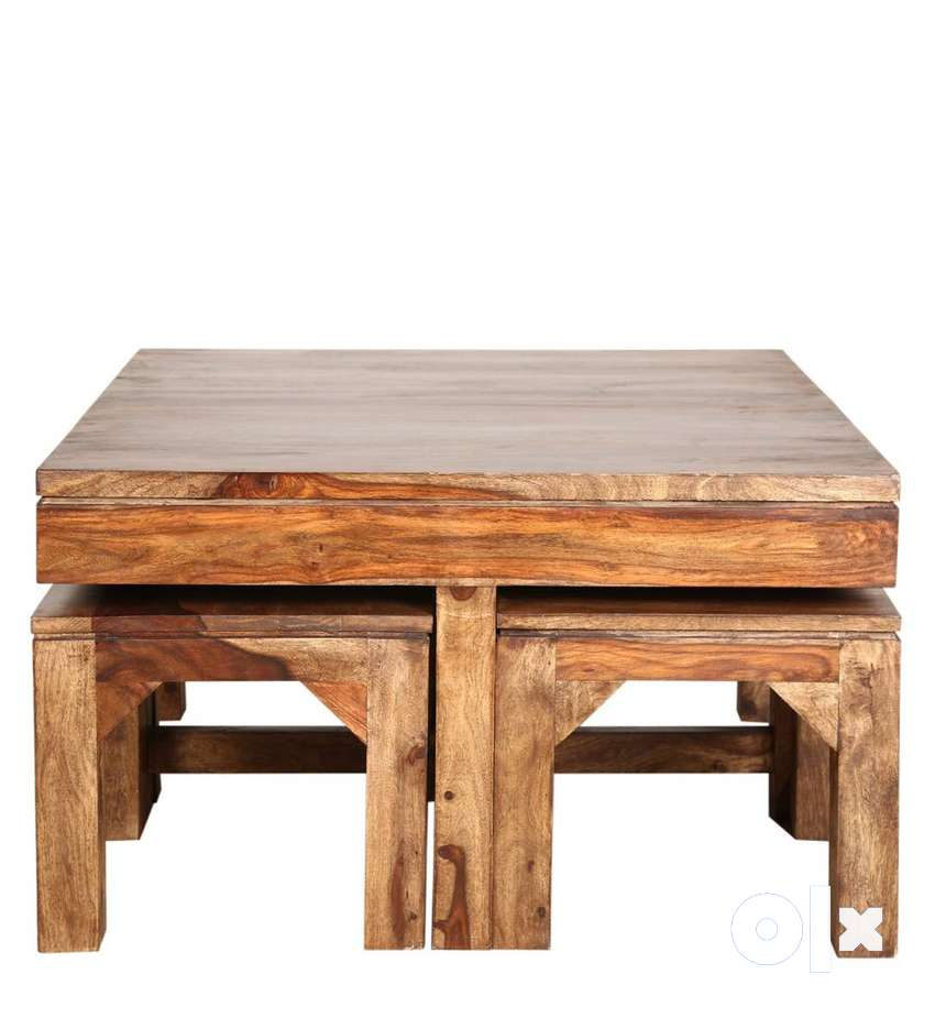 Centre Cum Coffee Table 4 Stools New Urban Lad Piece In Sheesham Wood Sofa Dining 1523921249