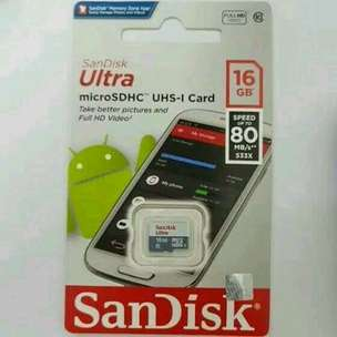 MicroSDHC SanDisk Ultra 16GB Class 10 UHS-1 Speed Up To 80MB/s