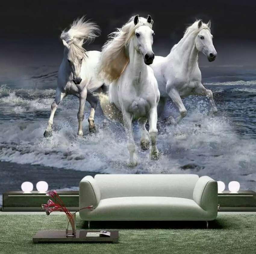 Wallpaper Dinding Custom 3d Horse Dekorasi Rumah 754981615