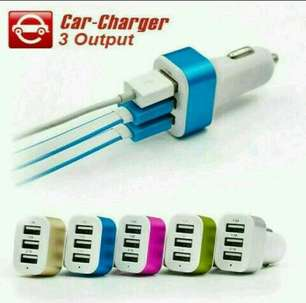 Car Charger / Charger Mobil Warna - 3 USB Port, 1A - 1A - 2.1A