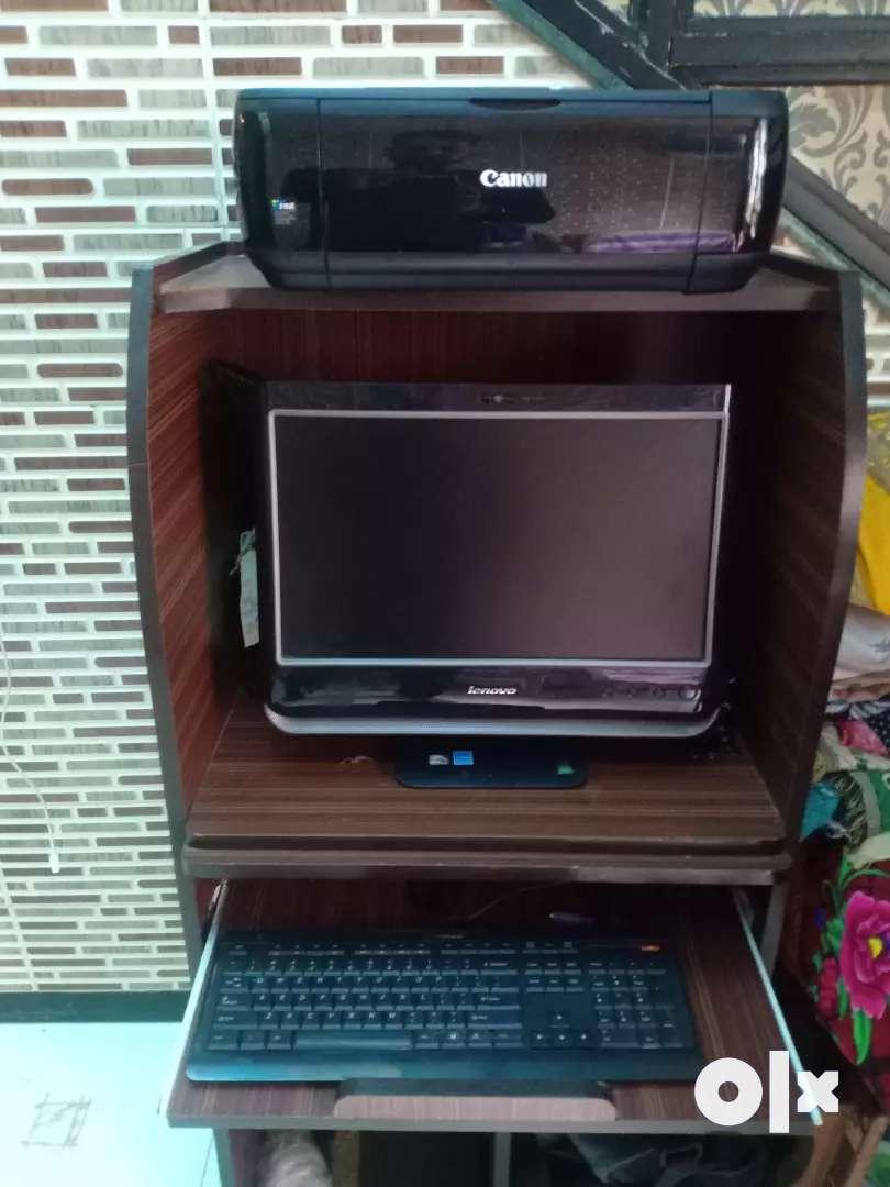 Computer Desk And Canon Pixma Printer