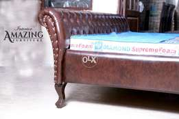 King size bed full cushion in imported leathe right without mattress.
