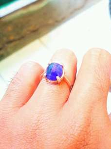 Blue Safir Natural For ladies Ring Perak size 7
