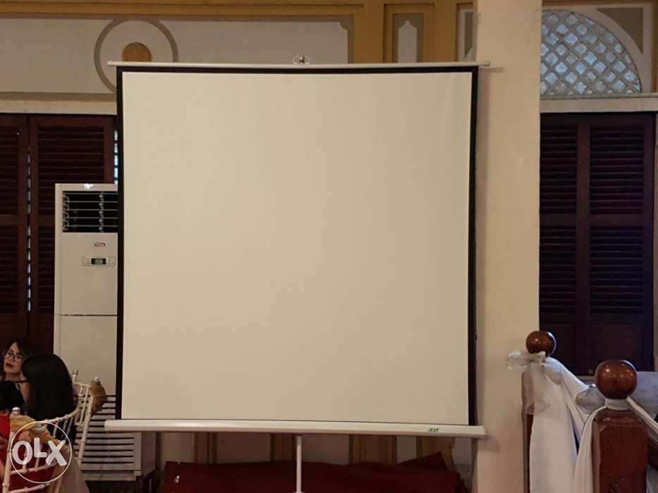 White Screen Lcd Projector For Rent Mic Stand Hire Sound