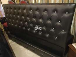 Black leather low heihht bed with sides